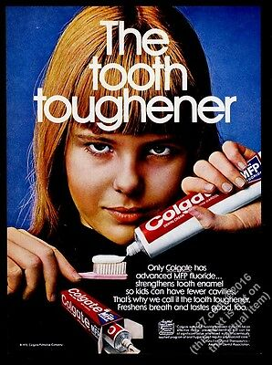 1970 smiling girl photo Colgate toothpaste vintage print ad