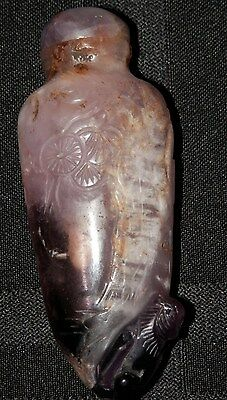 OLD ANTIQUE CHINESE Purple Quartz Carved Snuff Bottle with HORSE Asian artwork