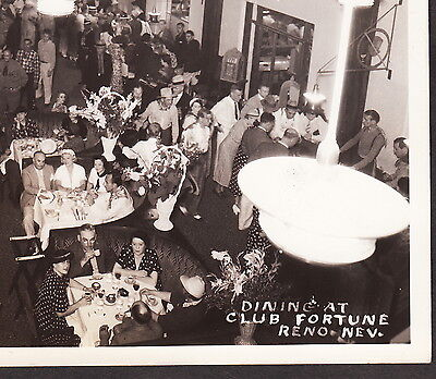 Reno NV 1930's Dining at Club Fortune Casino Card Historical Real Photo PostCard