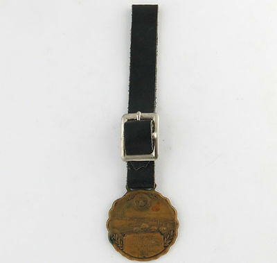 Maine Crest Fob - Vintage Carlton Bridge Dedication Leather Strap Medallion