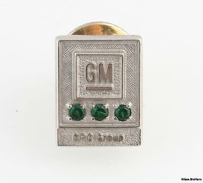 General Motors Pin - Vintage GM Synthetic Emeralds CPC Group Service Lapel