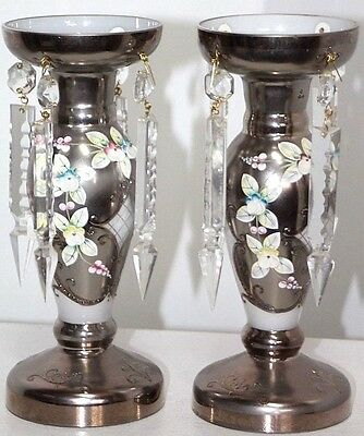 Stunning Set Of Bohemian Czech Lustres W/ Textured Painted Flowers & Cut Prisms