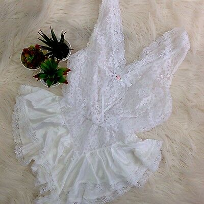 VTG Tosca white teddy Lingerie bridal Honeymoon negligee lace nylon SZ L NG63