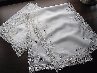 7 Pc Antique  Runner & Placemats White Embroidered Linen Italian Reticella Lace