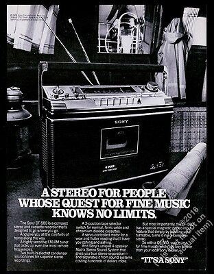 1978 Sony CF-580 stereo boombox ghetto blaster photo vintage print ad