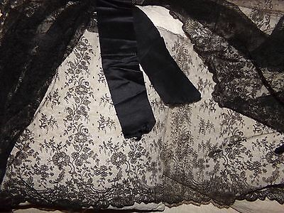 Antique Late 1800's Black Chantilly Lace Skirt Flounce Trim & Silk Ribbon 3+ YDS