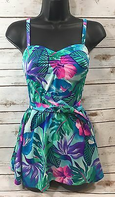 Vintage 70s Mainstream Womens Skirted One-Piece Swimsuit Pin-Up Floral 10 Small