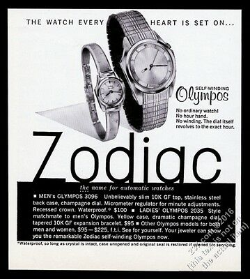 1963 Zodiac Olympos 3069 2035 watch photo vintage print ad