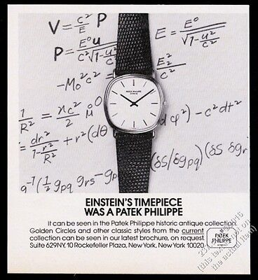 1982 Patek Philippe watch photo Albert Einstein theme vintage print ad