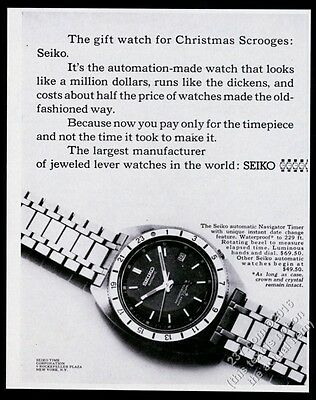 1968 Seiko Navigator Timer watch photo vintage print ad