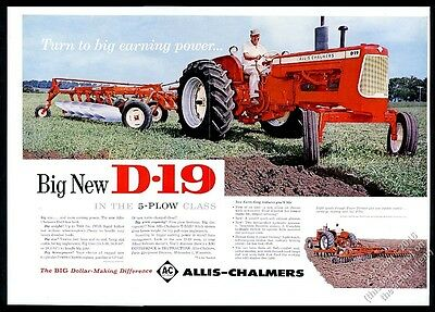 1962 Allis-Chalmers D-19 farm tractor plowing big color photo vintage print ad