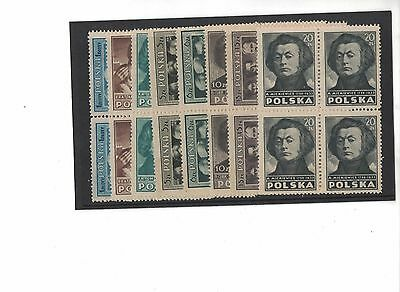 1947 Poland Culture perf. SG 580/94 A eight values muh in block four