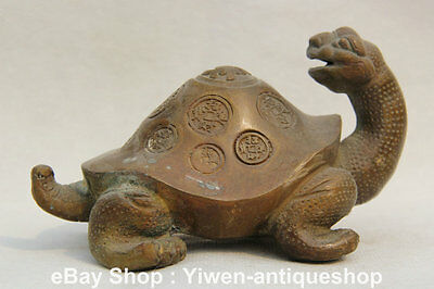 "5"" Old China Bronze longevity Sea Dragon Turtle Tortoise Wealth Statue Sculpture"