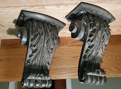 "LARGE Vintage Architectural Salvage Carved Wood Corbels~Set of 2 Pair 13.5"" tall"