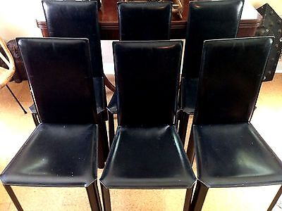 6 ~ DE COURO OF BRAZIL ~ Leather Dining Chairs ~ Mid Century Modern  ~ RARE