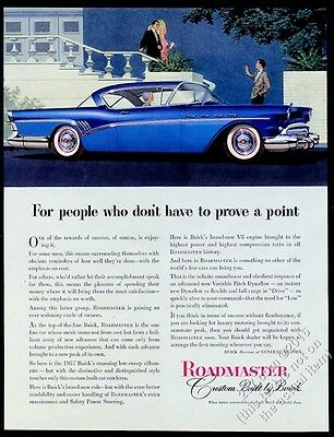 1957 Buick Roadmaster coupe blue car illustrated vintage print ad