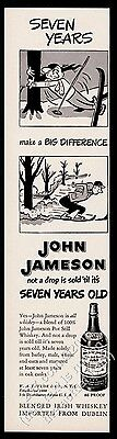 1951 John Jameson Irish Whiskey skiing cartoon art vintage print ad