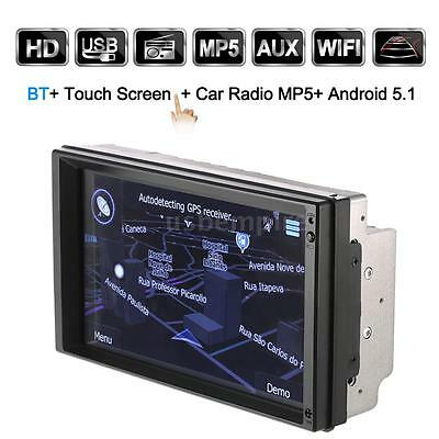 "7"" HD 2Din Car Stereo Radio Player GPS Navigation BT WIFI AM/FM Android 5.1 W0Z6"
