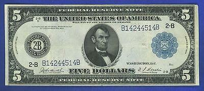 $5 1914 BEAUTIFUL BLUE SEAL  NEW YORK  Federal Reserve Note!!