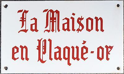 Old French enamel jeweller sign plaque notice gold plated house maison plaqué-or
