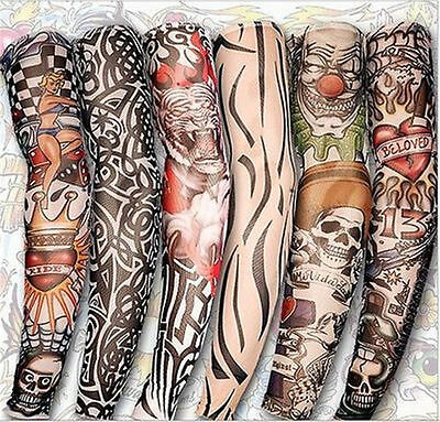 Punk Style Lot 6Pcs Temporary Fake Slip On Tattoo Arm Sleeves Kit Colletion Set