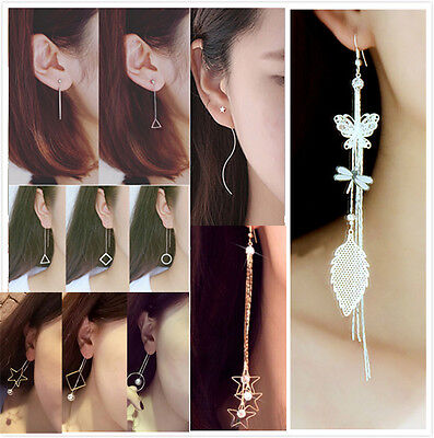 1 Pair Charm Gold/Silver Plated Long Tassel Chain Ear lines Dangle Hook Earrings