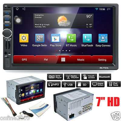 7 2Din Stereo Car Android MP5 Player Bluetooth Touch Radio AM/FM/RDS/GPS/USB/SD