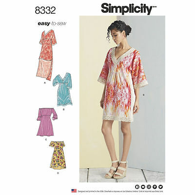 Simplicity Easy SEWING PATTERN 8332 Misses Dresses 6-14 Or 14-22