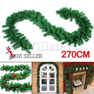 270cm(9ft)x25cm Imperial Pine Christmas Garland Decorations Tree Fireplace Green