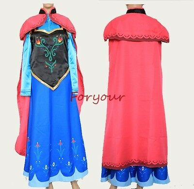 Frozen Princess Anna Halloween Christmas Cosplay Adult Cloak Dress Costume