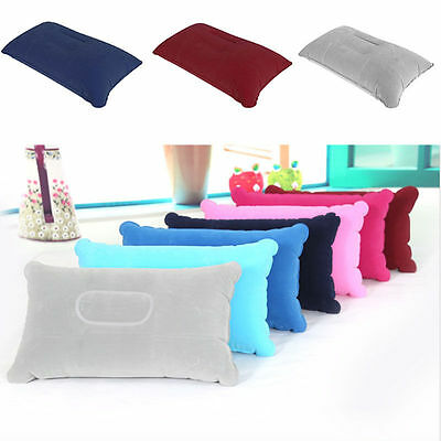 Portable Double Sided Air Inflatable Pillow Cushion Camping Travel Sleep Soft #1