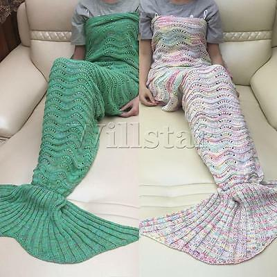 Sofa Mermaid Tail Blanket HandMade Crocheted Cocoon Beach Home Quilt Lapghan NEW