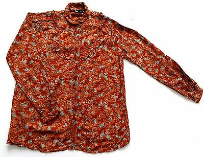 Vintage 70's / 80's Indian Cotton Floral Print Blouse Retro Boho 16