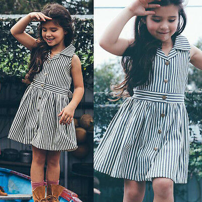 Toddler Kids Girls Cotton Striped Summer Clothes Pageant Party Wedding Dresses