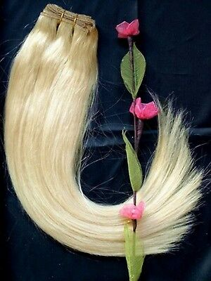 DOUBLE WEFT Platinum Blonde Human Hair Extension Weft Full Head #60
