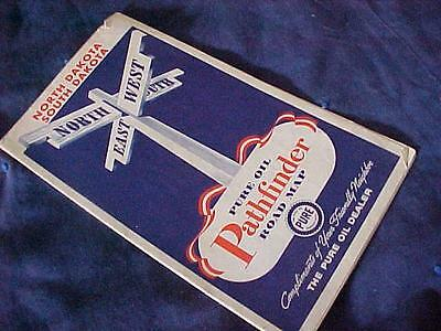 Vintage 1940's North & South DAKOTA Road Map Pure Oil Pathfinder Car Travel NR