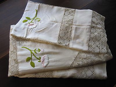 Gorgeous Antique Ivory Silk & Lace Embroidered Bed Spread And Pillow Sham 1920's