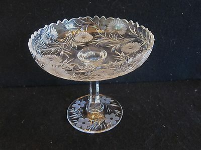 Vintage Antique American Brilliant Abp Cut Etched Glass Tazza Compote Tall Candy