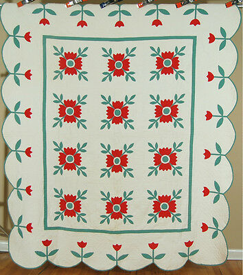 Vintage 30's Red & Green Whig Rose Applique Antique Quilt ~UNUSUAL TULIP BORDER!