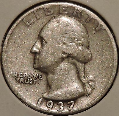 Washington Silver Quarter - 1937-D - $1 Unlimited Shipping