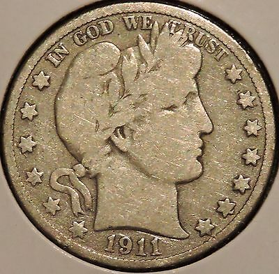 Barber Half - 1911-S - Historic Silver! - $1 Unlimited Shipping