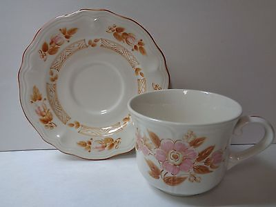 WICKER ROSE 4243 Ironstone Japan Cup and Saucer Set Pink and Brown Floral
