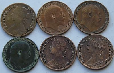 6 Bronze Farthings Queen Victoria & Edward VII, 1860 1866 1885 1902 1906 1909