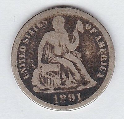 1891 Silver Philadelphia Mint Seated Liberty Dime