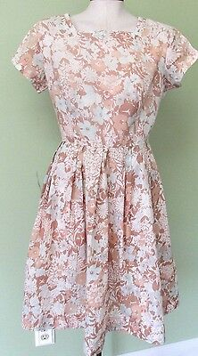 "Ladies Vintage Tan And Light Blue Floral Dress/ Full Skirt/ 39"" Bust"