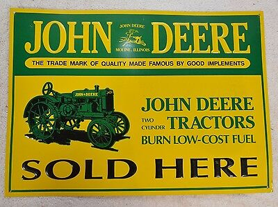 JOHN DEERE Two Cylinder Tractors Sold Here Yellow Green Metal Tin Sign