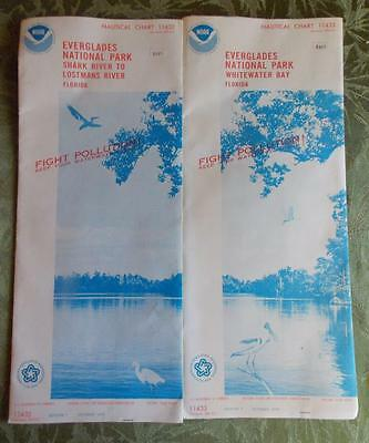 TWO RARE Vintage 1975 EVERGLADES NATIONAL PARK Nautical Charts 11433 & 11432