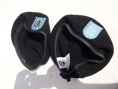 Usgi Military Berets Lot Of 2 Size 7  1/4 Black With Flash Patchs Used