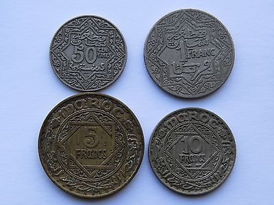 Lot of 4 Coins from Morocco Francs, Centimes