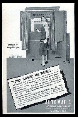 1959 Automatic Voting Machine booth photo vintage trade print ad
